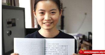 """Chân dung nữ sinh Việt viết chữ đẹp gây """"sốt"""" cư dân mạng Trung Quốc"""