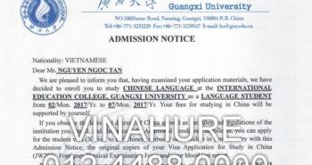Nguyễn Ngọc Tân nhận được thư mời học của trường Đại học Quảng Tây