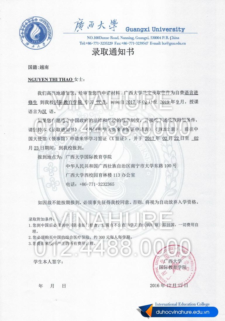 NGUYEN THI THAO - Admission web
