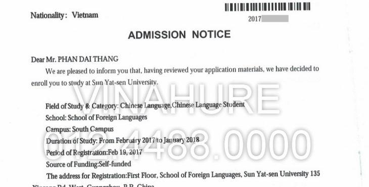 Phan Đại Thắng nhận thư mời học của Đại học Trung Sơn (Quảng Châu)