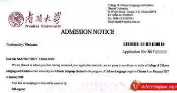 Nguyễn Thùy Trâm Anh nhận thư mời của Đại học Nam Khai (Thiên Tân)