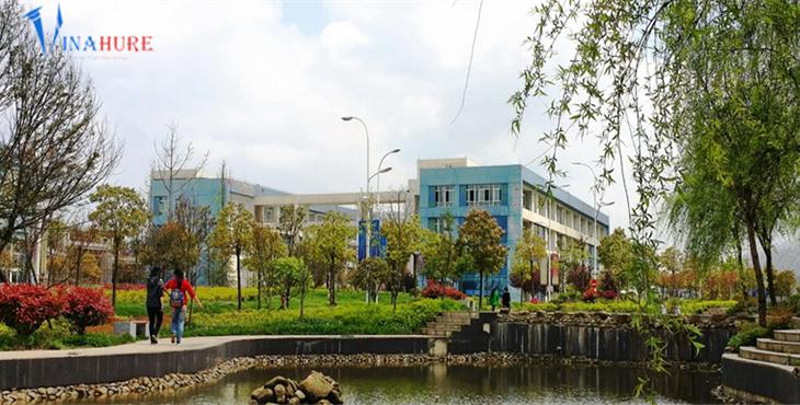 Khuôn viên trường với rất nhiêu cây xanh.