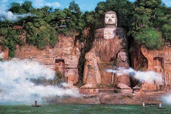 Văn hóa Phật giáo còn lưu giữ lại qua những tượng Phật đá điêu khắc khổng lồ tại Tứ Xuyên.