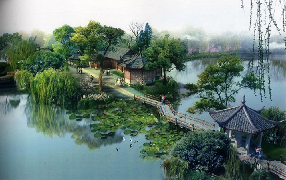 Thành phố Hàng Châu với nhiều nhà vườn như tranh vẽ.
