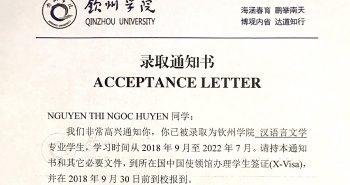 Học bổng Đại học Khâm Châu – Nguyễn Thị Ngọc Huyền